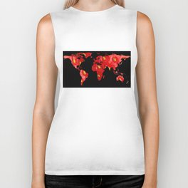 World Map Silhouette - Strawberry Biker Tank