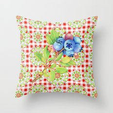 Maine Blueberry Red Gingham Mandala Throw Pillow