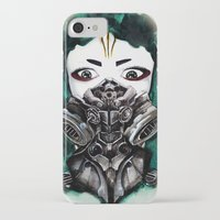 cyberpunk iPhone & iPod Cases featuring Cyberpunk Kyoshi Warrior by SmidgenSpunks