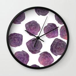 Modern pink purple trendy roses floral pattern Wall Clock