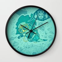 karen hallion Wall Clocks featuring Karen the Diver by Timo Ambo