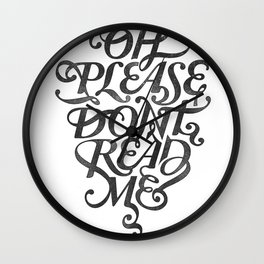 Please Don't (white version) Wall Clock