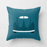 volkswagen Throw Pillows featuring Volkswagen Beetle by Nick Steen