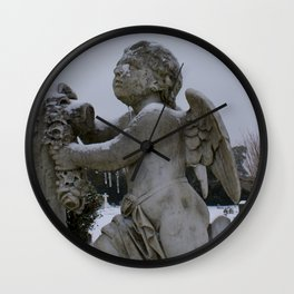Savannah Snow Day 2018 Snowy Cemetery Angel Savannah Photography Wall Clock