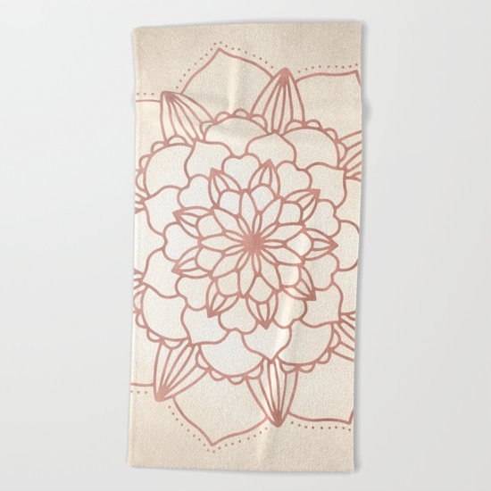 Mandala Bloom Rose Gold on Cream Beach Towel