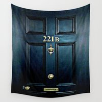 221b Wall Tapestries featuring Baker st house 221b door iPhone 4 4s 5 5c 6, pillow case, mugs and tshirt by Greenlight8