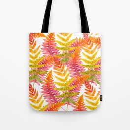 Hand painted pink orange watercolor fall fern floral Tote Bag