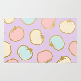 Pastel Pumpkin Pattern with Gold Rug