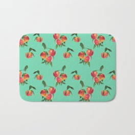 Peaches, Peach, Apricots on Turquoise Background Bath Mat