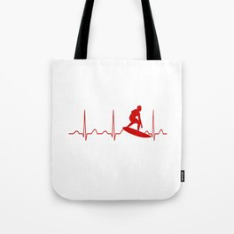 SURFING MAN HEARTBEAT Tote Bag