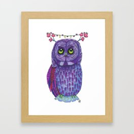 The Great Gray Purple Owl, A Key Holder And Protector Of The Mice Kingdom Framed Art Print