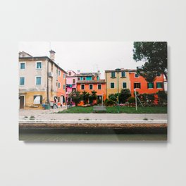 orange houses   venice   italy   travel photography   old city Metal Print
