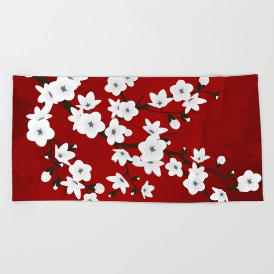 Red Black And White Cherry Blossoms Beach Towel