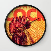cock Wall Clocks featuring Metaphysical Cock by Rafael T. Pimentel