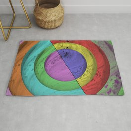 Marbled Colour Depth - Rainbow themed textured rings Rug