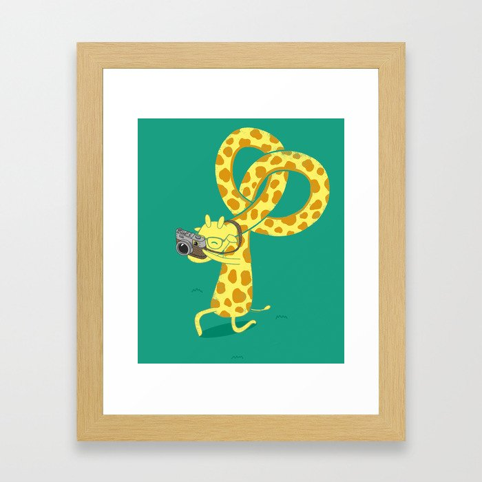 A Giraffe Photographer Framed Art Print