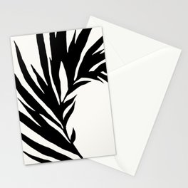 Black and White Curved Palm Frond Ink Drawing Stationery Cards