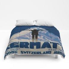 Vintage Zermatt Switzerland Travel Comforters
