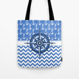 Nautical Chevron Compass Tote Bag