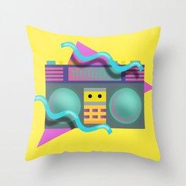Retro Eighties Boom Box Graphic Throw Pillow