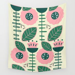Modern flowers and leaves Wall Tapestry