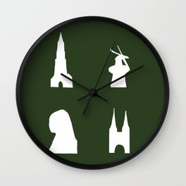 Delft silhouette on green Wall Clock