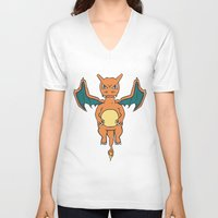 charizard V-neck T-shirts featuring Charizard Character Art Graphic Design by Jorden Tually Art