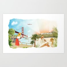 San Francisco + Los Angeles Art Print