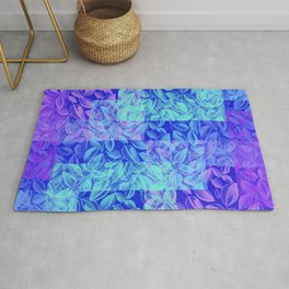 colorful pastel blue geometrical shapes pattern print with painted leaves design Rug