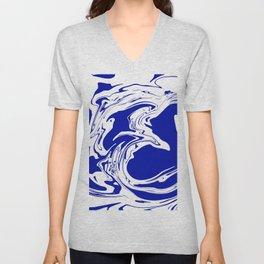 blue abstract fluid Unisex V-Neck