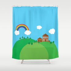 We Love This Place Shower Curtain