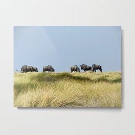 Wildebeest on the Horizon Metal Print
