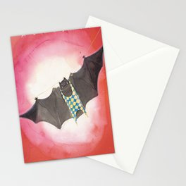 Acrobat Black Bat in Diamond Circus Watercolor Stationery Cards