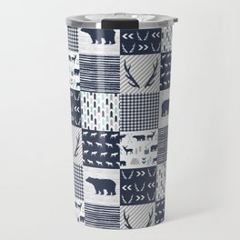 Camper antlers bears pattern minimal nursery basic navy mint grey white camping cabin chalet decor Travel Mug