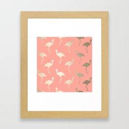 Gold Flamingo Pattern Coral Pink Framed Art Print