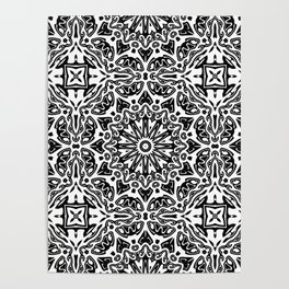 Oriental Pattern black and white Poster