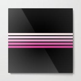 Pink Abstract Minimal Retro Stripes 70s Style - Nobuyasu Metal Print