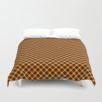 beaver Duvet Covers featuring Beaver Plaid by Bob Greenwade