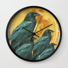mystic crow council under full moon Wall Clock