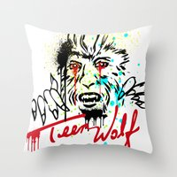 teen wolf Throw Pillows featuring Teen Wolf  by DIVIDUS DESIGN STUDIO