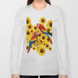 RED  & BLUE MACAWS LOVE YELLOW SUNFLOWERS ART Long Sleeve T-shirt
