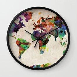World Map Urban Watercolor Wall Clock