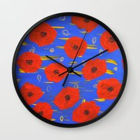 poppies Wall Clocks featuring POPPIES by Teresa Chipperfield Studios