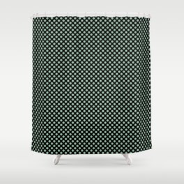 Black and Grayed Jade Polka Dots Shower Curtain