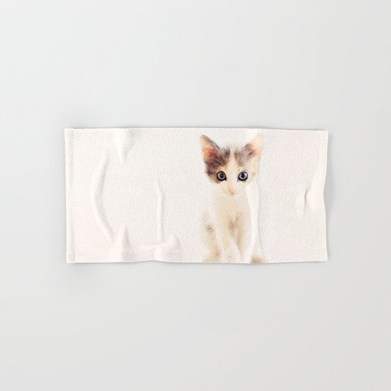 White and Grey Kitten Hand & Bath Towel