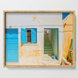Typical blue door and window in Emporio on the island of Santorini Serving Tray