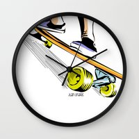 skate Wall Clocks featuring skate by Cal ce tin