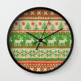 Ugly Christmas Sweater Digital Knit Pattern Wall Clock