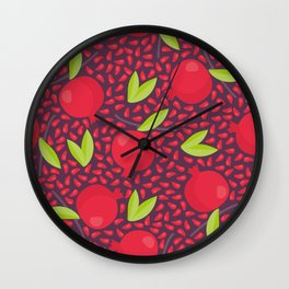 Hand drawn floral elements and garnets Wall Clock