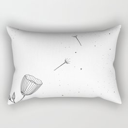 Flowers in the Wind Art Illustration Rectangular Pillow
